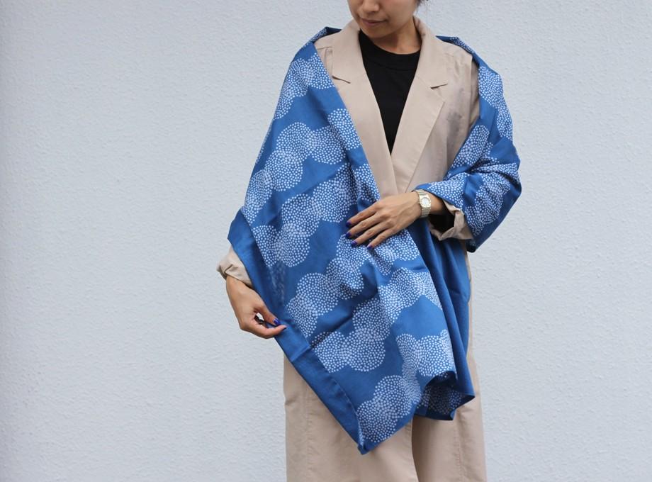 《受注生産》藍染×型染ストール(丸重ね)