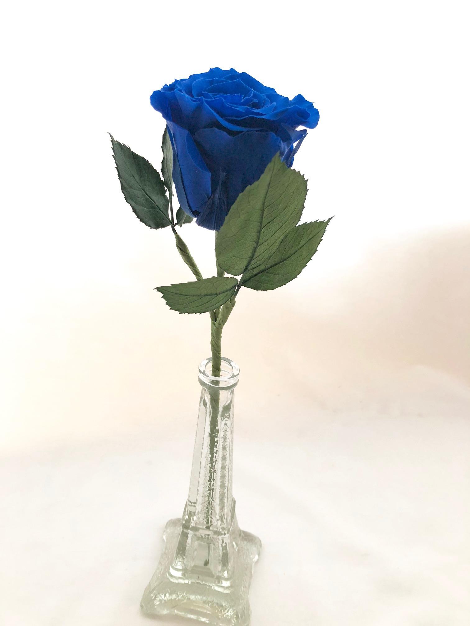 プリザーブドフラワー/青い薔薇の祝福一輪ラッピング】 | iichi ...