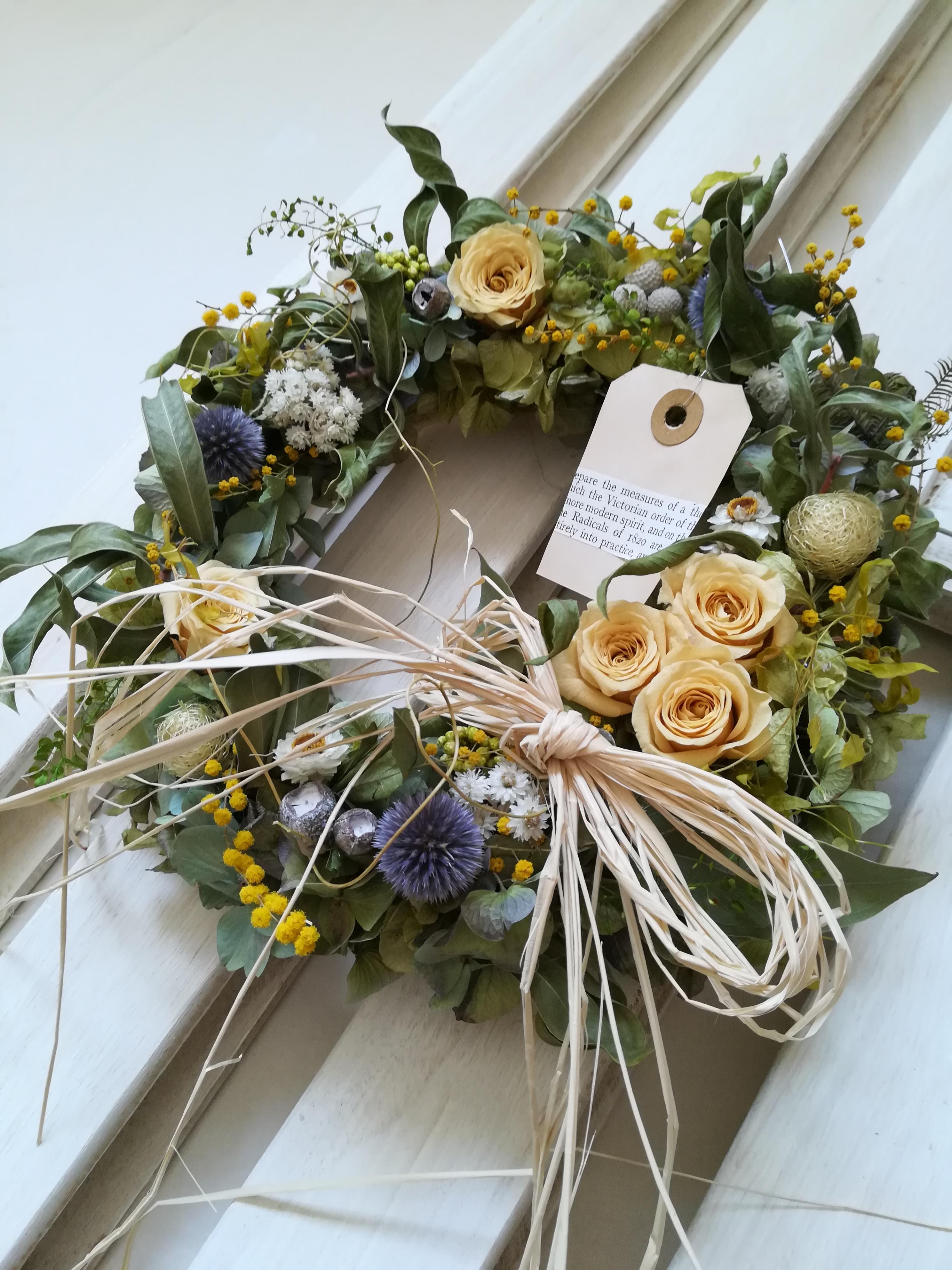 黄バラとミモザのgarden Wreath Iichi ハンドメイド クラフト作品 手仕事品の通販