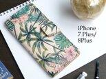 iPhone7Plus/8Plus アイフォンケース 手帳型(トロピカル パーム) 牛革 ILL-1139の画像