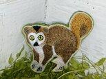 カンムリキツネザル*刺繍ブローチの画像
