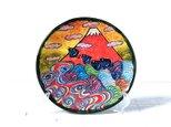 波千鳥と赤富士の色絵皿(7寸)の画像