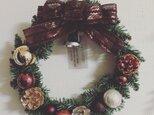 シックなブラウンのクリスマス・リース Lの画像