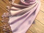 *桃花色×京紫色*贅沢なウールショールの画像