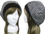 ウール混ループツイード/リブ付ベレー帽(ゆったり)◆ブラック×ホワイトmixの画像