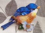 アップリケワッペン 青い鳥とハナミズキ W-0667の画像