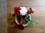 お正月のしめ縄飾り■紅白■シンプルデザインの画像