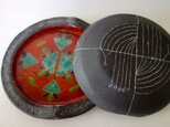 焼き〆線刻赤絵陶匣の画像