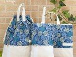 北欧ナチュラル・紫陽花柄の通園通学3点セット:紺×生成りの画像