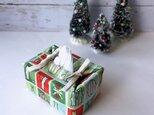 リバーシブルポケットティッシュカバー・容器付き(US生地のクリスマス英字×黄緑花柄)の画像