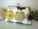 ◆【再販35】北欧オリーブ色の花柄がま口ポーチ*プレゼントや旅行にも◆の画像