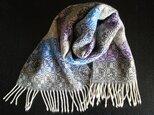 〈sale〉手織りカシミヤマフラー モノクロ×青×紫の画像