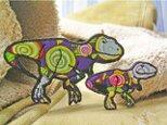 ★恐竜ティラノサウルス/ミニ★アップリケ刺繍ワッペン★1枚の画像