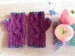 羊毛100% 葉っぱ模様の指なし手袋「リーフ」/ Sloe(リンボク)の画像