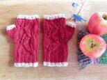 羊毛100% 葉っぱ模様の指なし手袋「リーフ」/ Hawthorn(サンザシ)の画像