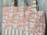 再入荷【通園通学】動物柄レッスンバッグ・上履き入れセット(ピンク)の画像
