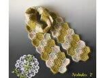 【春色】さくら&抹茶色のモヘアモチーフマフラーの画像