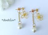 【再】~極小花~ wire flower チェーンコットンパールピアス/イヤリングの画像
