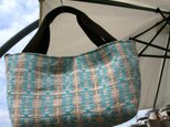 北欧手織りトートバッグ(ターコイズ)の画像