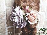 ピオニーとアンティーク風ローズの髪飾り3点Set No93の画像