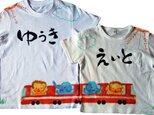2枚セットお揃い★繋がる特注手描きTシャツ★名入れ可★お祝いに 繋がるシャツの画像