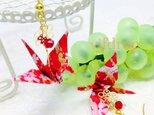 A1 桜鶴柄 赤折り鶴の和ピアスの画像