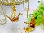 A21 桜格子柄 黄折り鶴の和ピアスの画像