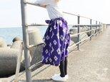 着物リメイク・銘仙のリボンスカート(紫に花・M~L)の画像