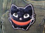 ★アップリケ/刺繍ワッペン★ポーチデザイン猫★アイロン接着★1の画像