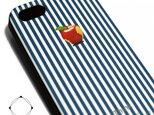 iphone5/iphone5s用/iphoneSE 軽量レザーケース(ブルーストライプ×ブラック)ロンドンストライプ 赤リンゴの画像