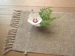 生成りの麻の手織りテーブルセンター(2)の画像