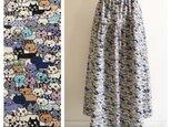 猫猫猫みっちりのティアードスカート(ネイビー)の画像