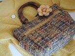 サイドポケットバッグS(輸入生地シャネルツイード暖色系ミックス×コサージュ)の画像
