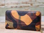 イタリア産 ラ・ぺルラ・アッズーラ社 オレンジ 長財布 ラウンドファスナー 牛革 皮 ハンドメイド 手作りの画像