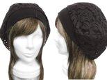 アラベスク柄コードレース/リブ付ベレー帽(ゆったり)◆ブラックの画像