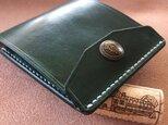 【右開口カード2枚 Dグリーン クラウン】薄型シンプル札ばさみ MC-08c マネークリップ ヌメ革の画像