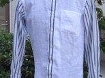 スカッとした縞模様と無地のリネンメンズシャツ送料無料の画像
