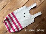うさぎ上靴袋ピンクボーダー(送料無料の画像