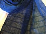 再販藍色コンビ綿ストールの画像