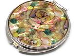 コンパクトミラー 天然貝仕様(アンティークローズ)<螺鈿アート>の画像
