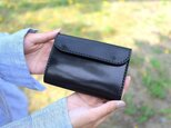 【受注生産品】三つ折り財布 ~栃木ブラックサドル オールブラック~の画像