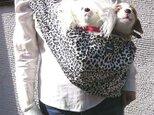 犬用抱っこ紐 ヒョウ柄の画像