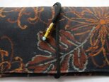 送料無料 銘仙の着物で作った和風財布・ポーチ 2690の画像