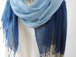 限定出品・お試しお買い得品・藍染め(すっきりグラデーション)ガーゼのような柔らかコットン・ロングストールの画像
