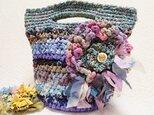 ♪花hana 花♪正絹染め和布♪裂き編みバッグ♪ABの画像