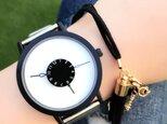 ステンレス *シンプルペアウォッチ* ブラック×ホワイト 腕時計 <d-002>の画像
