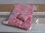ドール用枕&掛布団SS・シングル用(薄)パリの日々(ピンク)1/12ミニチュア・ファブリックの画像