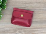 本革 ミニ財布 カード入れ&コインケース ちょっとしたお出かけに最適 ☆Red☆の画像