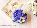 青い薔薇とコスモスのコサージュ(ヘッドドレス可)の画像
