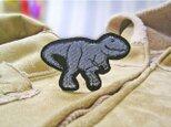 ★ティラノサウルス/デニム水色★恐竜ワッペン★の画像